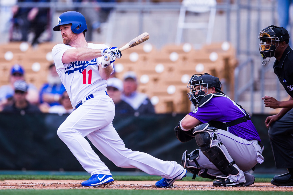 GLENDALE, AZ - FEBRUARY 27:  Logan Forsythe #11 of the Los Angeles Dodgers bats in the first inning during a spring training game against the Colorado Rockies at Camelback Ranch on February 27, 2017 in Glendale, Arizona. (Photo by Rob Tringali/Getty Images)